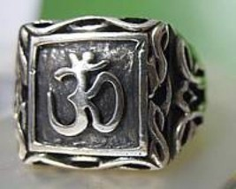 LOOK Solid Sterling Silver .925 Celtic Om Ganesh Ring Hindu AUM Jewelry New - $50.70