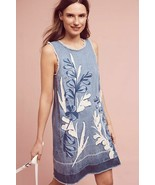 New Anthropologie Holding Horses Blue Denim Leaves Shift Dress $148 Size... - $57.42
