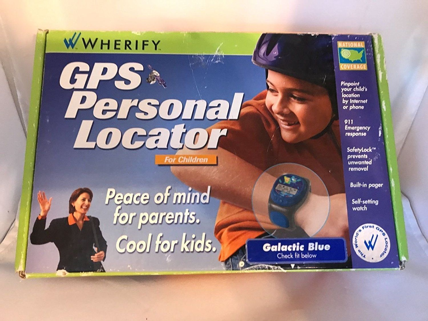 "WHERIFY GPS PERSONAL LOCATOR FOR CHILDREN COSMIC BLUE  FITS 4.5"" TO 6"" WRIST"