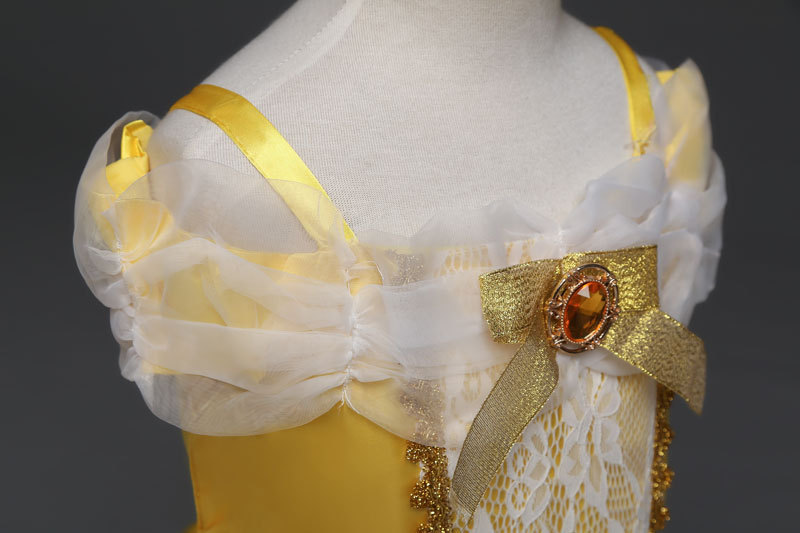 Cute Yellow Belle Pricess Flower Girls Dresses Tulle Cosplay Party Gowns A Line