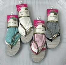 GOLDTOE women's 3-pair Liner Socks w/ Metallic Flip Flops LARGE 8/9 - $3.89
