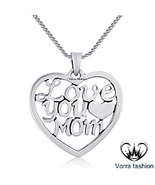 """Love You Mom Double Heart Pendant With 18"""" Chain 14k White Gold Sterling... - £29.95 GBP"""
