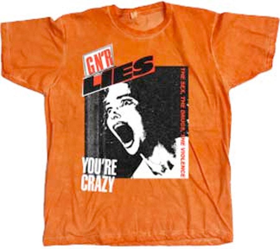 Guns N Roses-Lies-You're Crazy-Large Orange T-shirt