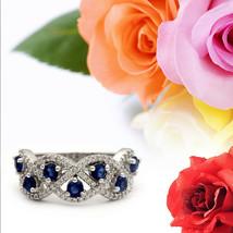 925 FINE Silver Blue White Gemstone Modernist Classic Cluster Ring Women... - $22.55