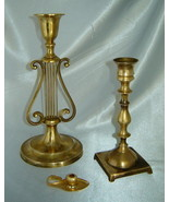 Lot (3) Vintage Ornate Brass Candlestick Holders for Tapered Candles (1 ... - $19.50
