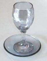 Judaica Kiddush Cup Glass Goblet Saucer Shabbat Clear Blue image 2