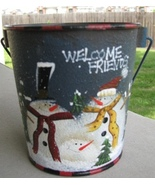 60355B - Blue Snowman Bucket Metal  - $4.95