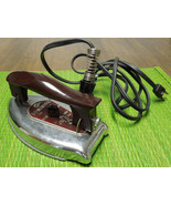 DOMINION FOLDING TRAVEL IRON Model 1033-A with carry bag 50's Vintage ST... - $19.79