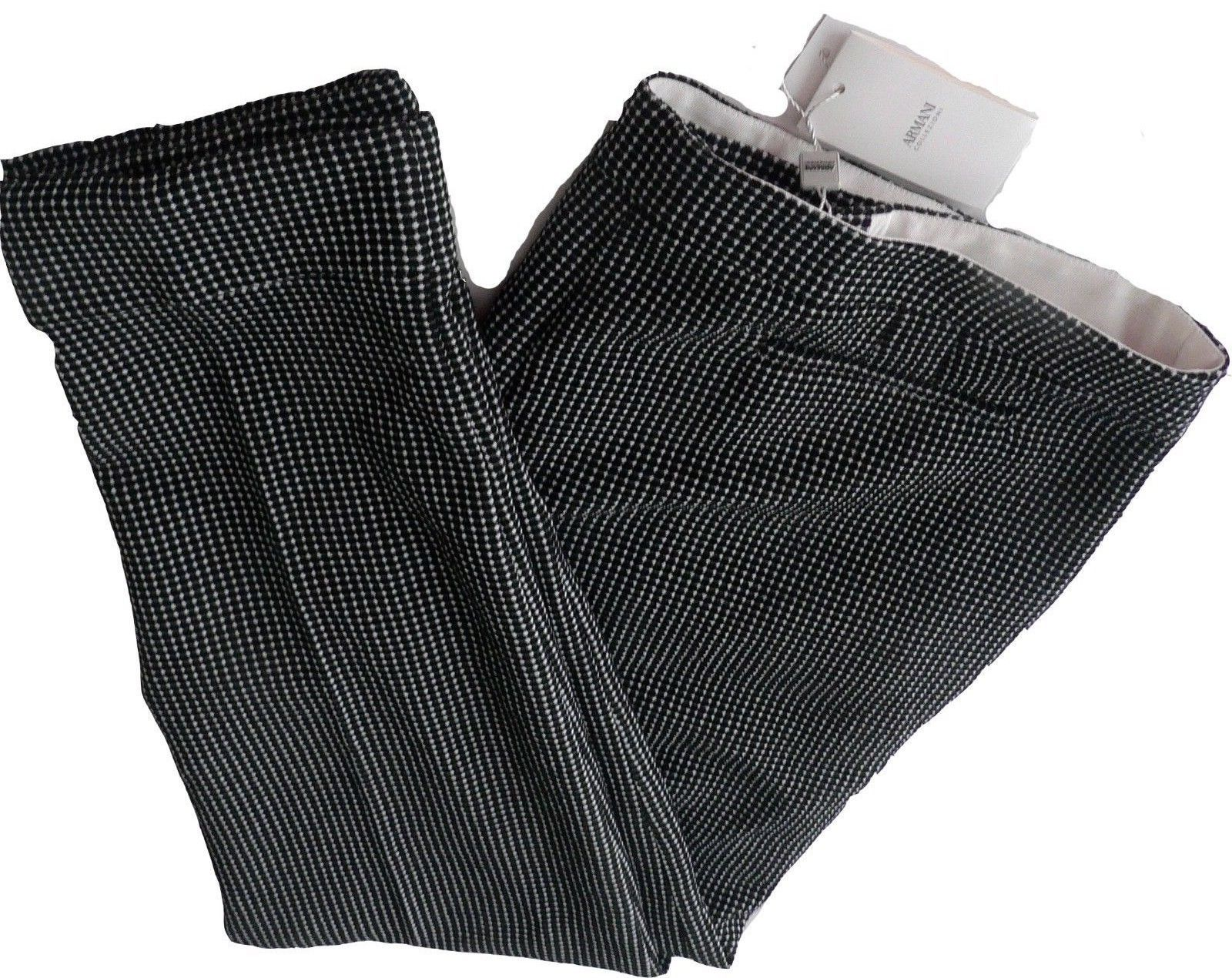 Primary image for NWT ARMANI COLLEZIONI 52/16 pants trousers slacks black/white heavyweight career