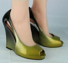 Jessica Simpson pensly women's wedge heels shoes green open toe size 10B image 5