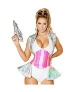 Space Alien Buster Costume Metallic Skirted Romper High Collar Bodysuit 4740 - $54.00
