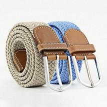 Men Women Waist Belt Fashion Elastic Knitted Buckle Canvas Braided Casua... - $9.39
