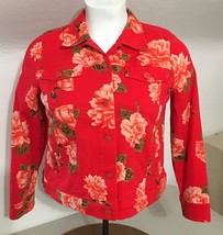 Isaac Mizrahi Live RED w Orange Roses Womens Jacket Cotton Blend Sz 14 G54 - $46.04