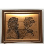 VTG Etched COPPER PLAQUE Man With Bird Middle Eastern Coppercraft Wall H... - $19.60