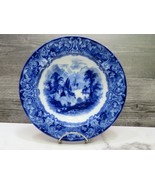 "Antique Royal Doulton Geneva Flow Blue Transferware Rimmed Soup Bowl 8.5""  - $29.70"