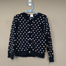 Crewcuts J. Crew 6-7 Navy Polka Dot Scallop Button Cardigan Casual Knit ... - $21.97
