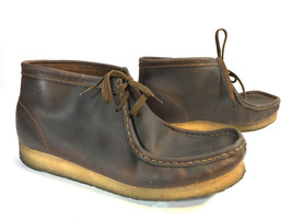 CLARKS originals brown oiled leather high top chukka men ankle boot 11 FREESHIP! - $64.30