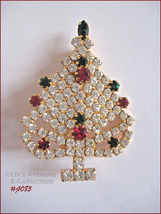 Signed Eisenberg Ice Rhinestone Christmas Tree Pin (#J1085) - $68.00