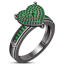 Round Cut Green Sapphire 14k Black Gold Plated Pure 925 Silver Engagement Ring - $76.07