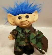 "Vintage Uneeda 8"" Troll Doll Camo Hunter Blue Hair Double Horse Shoe Feet - $22.77"
