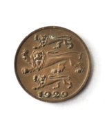 1929 Estonia Eesti One Sent Bronze Coin KM# 10 - $195,08 MXN