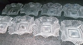 8 Indiana Glass Diamond Point Ruffled Edge Square Candy Dish Crystal Cle... - $79.99