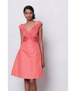 NWT $238 ANTHROPOLOGIE CORAL RUCHED CROSSING DRESS by MIRROR of VENUS 0 - $99.74