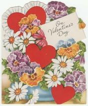Vintage Valentine Card Flowers Hearts Daisies Pansies A-Meri-Card 1950's - $6.92