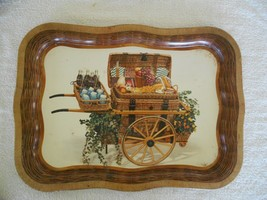 Vintage Coca Cola Serving Tray of Picnic Basket in Cart Large Heavy Dut... - $7.83