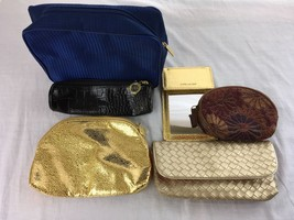 Lot of 5 Estee Lauder Makeup Cosmetic Case Pouch Travel Bags + Mirror GOLD - $17.79