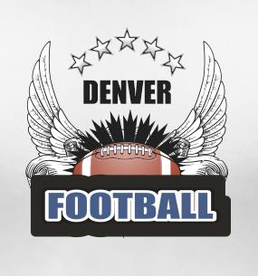 Denver Football Sports Style Graphic T Shirt Black Red White L XL 2XL