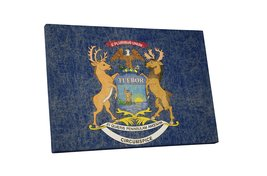 "Vintage Michigan State Flag Gallery Wrapped Canvas Wall Art 30"" x 20"" - $53.95"