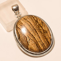 Natural Banded Aragonite Gemstone 925 Sterling Silver Fine Jewelry Men's Pendant - $17.64