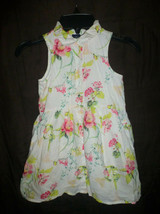 Gap Kids Girls White Floral Sleeveless Button Down Dress XS 4-5 - $10.88
