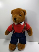 Vintage Korea 1983 Carousel by Guy Teddy Bear Brady red shirt blue pants - $29.39