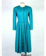 Vtg 80s California Green Cotton Western Maxi Shirt Dress Shoulder Pads P... - $24.74
