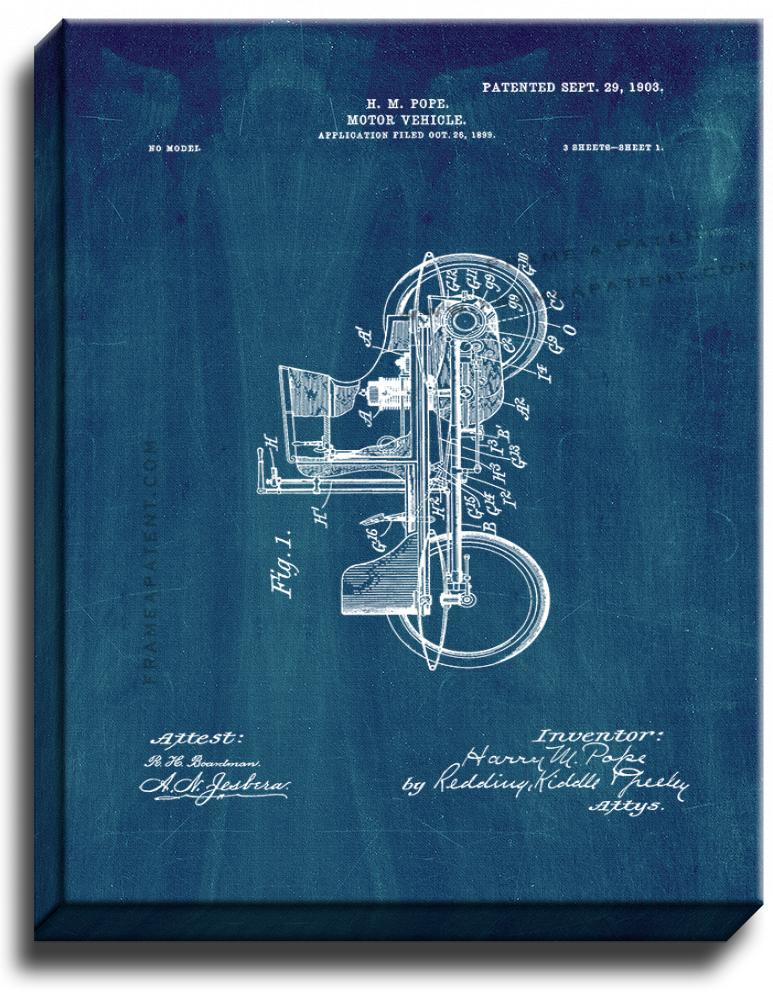 Primary image for Motor Vehicle Patent Print Midnight Blue on Canvas