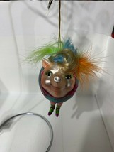 """Katherine's Collection glass pig showgirl ornament 4"""" x 3"""" turquoise 22-... - $34.99"""