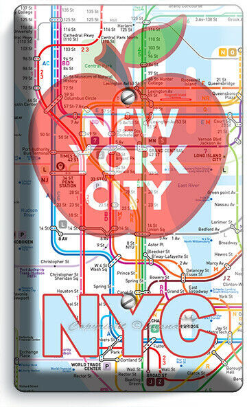 NYC NEW YORK CITY BIG APPLE SUBWAY MAP LIGHT SWITCH OUTLES WALL PLATE ROOM DECOR image 5