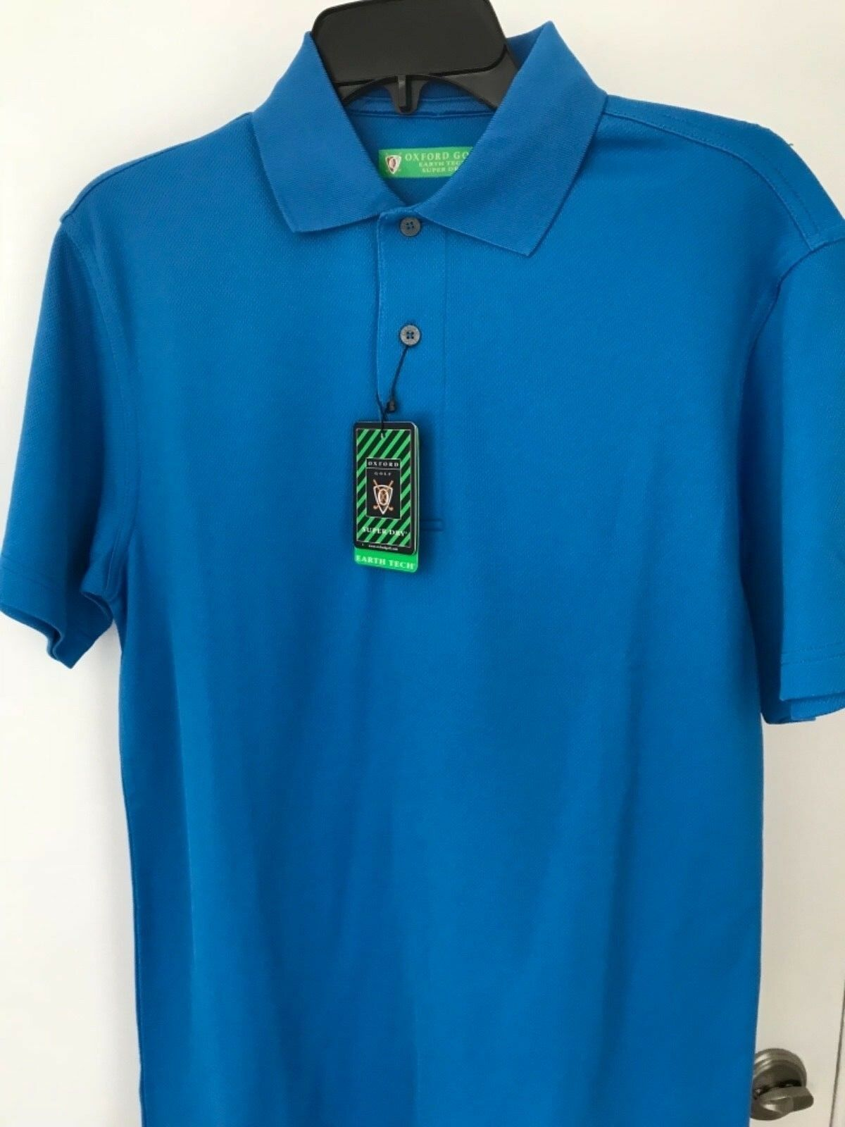 Oxford Golf Tierra Tech HOMBRE XS Azul Manga Corta Polo Nwt