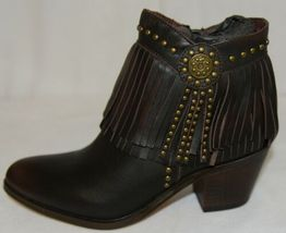 Lucky And Blessed SH 11 Dark Brown Leather Boots Fringe Metal Studs Size 6 image 5