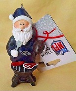 NFL RAVENS Team Logo Grilling Santa Claus Holiday Tree Ornament Tailgate - $9.00