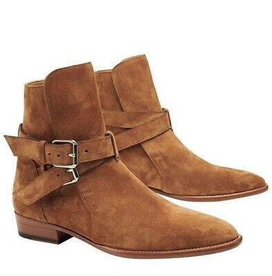 Tan Tone Suede Leather Pointed Toe Rounded Buckle Strap High Ankle Jodhpur Boots