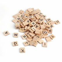 100Pcs Mix Wooden Scrabble Tiles Letters Craft Alphabet Board Game Fun T... - $5.08
