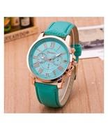 Women Watch Roman Numerals Green Leather Luxury Analog Casual Ladies Wri... - $6.49