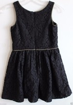 Gap Kids NWT Girl's Black Lace Dress w/ Gathered Skirt & Gold Trim image 2