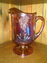Indiana Carnival Marigold Iridescent Amber 64 Oz Water Pitcher Grapes - $37.99