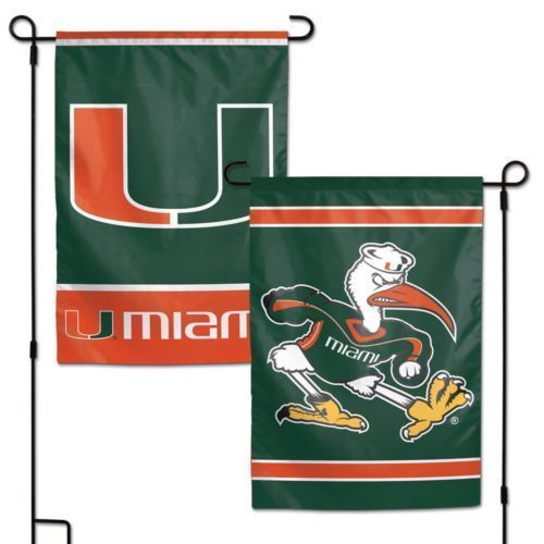 "MIAMI HURRICANES TEAM GARDEN WALL FLAG BANNER 12"" X 18"" 2 SIDED NCAA"