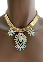 Turkish Inspired AB Acrylic Rhinestones Evening Necklace Earrings Set Pageant - $19.95