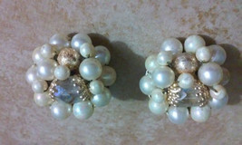 Vintage Faux Pearl & Clear Crystal Cluster Bead... - $3.60